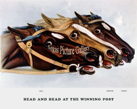 Fine art Horseracing Print of the 1800's Racing and Trotting of Head and Head At Winning Post: Eole, Monitor and Parole